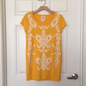 Anthropologie yellow tunic top